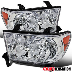 For 2007 2013 Toyota Tundra 2008 2014 Sequoia Clear Headlights Lamps Pair Amber