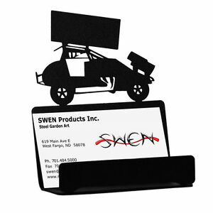 Swen Products Sprint Car Race Auto Racing Black Metal Business Card Holder