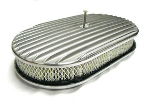 15 X 2 Nostalgic Heavy Duty Finned Polished Aluminum Oval Air Cleaner Chevy