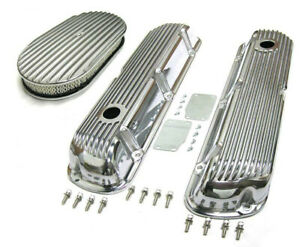Sbf Ford 289 302 Finned Retro Aluminum Valve Covers 15 X 2 Air Cleaner Kit