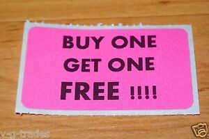 Lot 100 Pink Buy One Get One Free Sales Price Labels Stickers Tags Retail Store