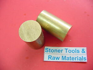2 Pieces 1 1 2 Brass C360 Solid Round Rod 2 Long Lathe Bar Stock 1 50 Od H02