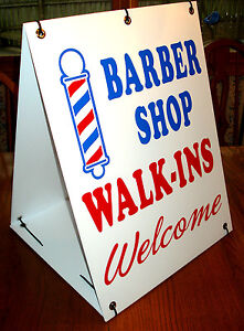 Barber Shop Walk ins Welcome 2 sided Sandwich Board Sign Kit New