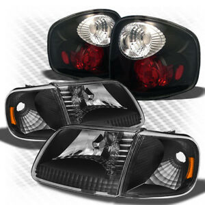 For 97 00 F150 Flareside 01 03 Supercrew Blk Headlight Altezza Style Tail Light