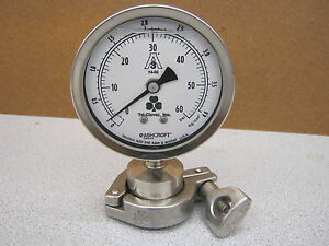 Ashcroft 0 60 Psi 4 Face Pressure Gauge