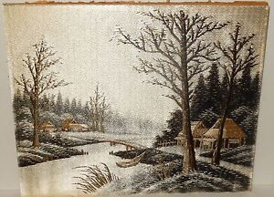 Old Japanese Silk Village Embroidery Tapestry Painting