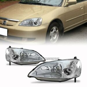 Chrome Housing Clear Lens Headlights For 2001 2003 Honda Civic Dx Lx Ex 2 4 Door