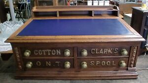 Awesome Antique Clark S Oak Spool Cabinet Lift Top 4 Drawers