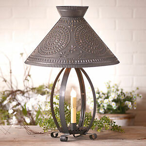 Betsy Ross Colonial Table Lamp W Pierced Chisel Pattern Blackened Tin Shade Usa