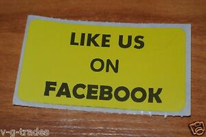 Lot Of 200 Yellow Like Us On Facebook Shipping Stickers 2x1 Inch Label Boxes
