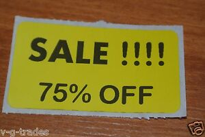 Lot 100 Yellow Sale 75 Off Price Labels Stickers Tags Retail Store 2x1 Inch