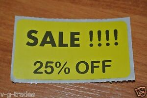 Lot 100 Yellow Sale 25 Off Price Labels Stickers Tags Retail Store 2x1 Inch