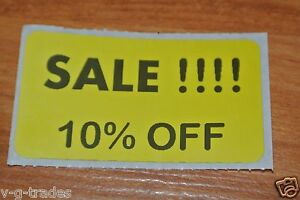 Lot 100 Yellow Sale 10 Off Price Labels Stickers Tags Retail Store 2x1 Inch