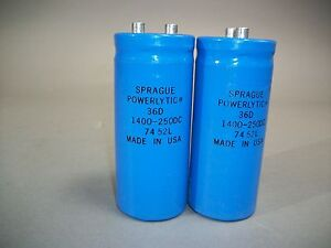 Sprague Powerlytic 36d 1400 250dc 7452l Capacitor new Free Shipping lot Of 2