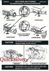 1972 Plymouth Satellite Road Runner Gtx Jacking Instructions Trunk Lid Decal New