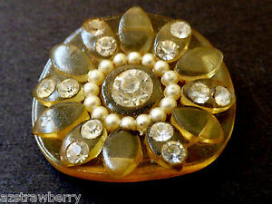 Vintage Old Art Deco Celluloid Decorative Rhinestone Button