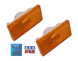 1970 Cougar Front Marker Lights Pair Ford Logo