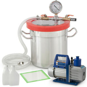 5cfm 1 2hp Vacuum Pump W 3 Gallon Vacuum Chamber Silicone Degassing Expoxy Kit