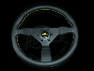 Personal Grinta 350mm Steering Wheel Black Leather Yellow Stitch 6497 35 2095 C