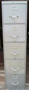 Vintage Business Steelcase Metal 5 Drawer Filing Cabinet