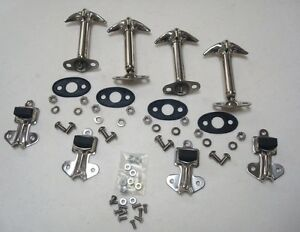 1932 Ford Car Pickup Truck Stainless Hood Latch Clip Kit Set W Bolts Pads