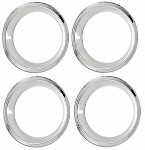 14 Chrome Stainless Steel Deep Dish Trim Ring Set W Stepped Edge 14 X7 Wheel
