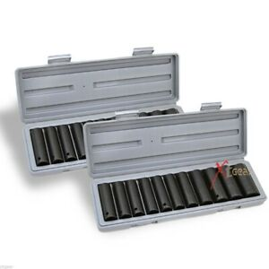 24pcs Sae Mm Metric Size 1 2 Deep Impact Chrome Vanadium Steel Socket Set