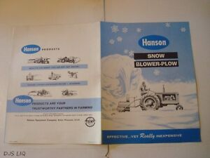 Old Hanson Rear Snow Blower Plow John Deere Catalog Manual Sales Brochure Cf1102
