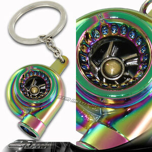Neo Chrome Spinning Turbo Charger Turbine Key Chain Key Ring Keychain Chevrolet