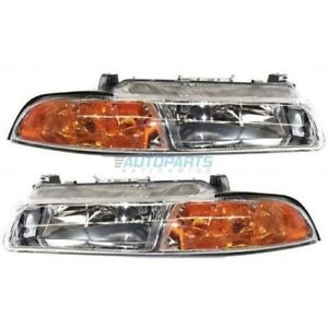 New Set Of Two Halogen Head Lamp Assembly Fits 1995 2000 Chrysler Cirrus