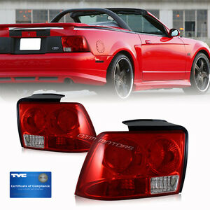 1999 2000 2001 2002 2003 2004 Ford Mustang Red Lens Tyc Tail Light Lamps Set R l