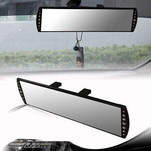 300mm Wide Flat Interior Clip On Panoramic Jeweled Rear View Mirror For Mazda