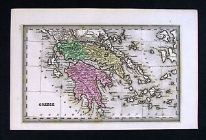 1832 Carey Map Greece Athens Natopli Corinth Hellas Cyclades Paros Europe