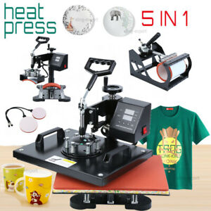 5 In 1 Heat Press Machine Digital Transfer Sublimation T shirt Mug Plate Cap Hat