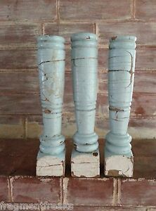 Three 3 Reclaimed Wood Candlesticks Shabby Candle Holders Blue White Vintage A3