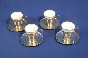 4 Vtg Antique Tiffany Co Sterling Silver Demitasse Cup Saucers Lenox Liners