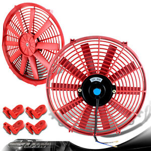 Red 14 High Performance Electric Cooling Pull Push Slim Radiator Fan For Dodge