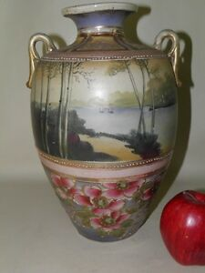 Antique Nippon Satsuma Hand Painted Scenic Floral Large Vase 12 High