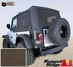 Xhd Soft Top W tinted Windows No Doors Khaki For 03 06 Jeep Tj Wrangler 13730 36