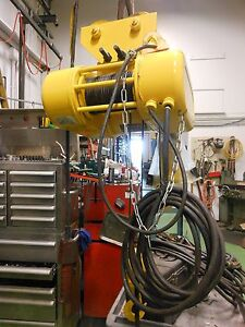 576 David Round 1 Ton Wire Rope Hoist W push Trolley 15 Lift 3 Phase