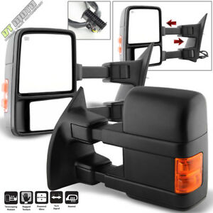 Pair 2 2008 2016 Ford F250 F550 Super Duty Power Heated Signal Tow Side Mirrors