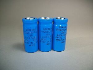 Lot Of 3 Sprague Powerlytic 36d 2600 50dc Electrolytic Capacitor 8804l New