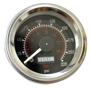Viair 90080 Dual Needle 220 Psi Black Face Gauge Air Ride Suspension Gauges