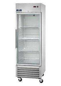 New Arctic Air Single one Door Glass 23cuft Reach in Refrigerator Agr23