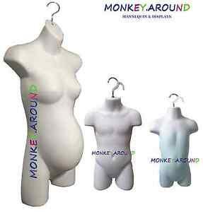 3 Mannequin Body Form White Pregnant Female Child Infant Display W 3 Hook Hanger
