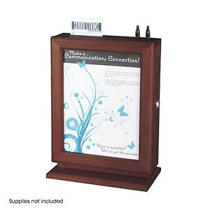 Safco Customizable Wood Suggestion Box Mahogany 4236mh Wall Mountable