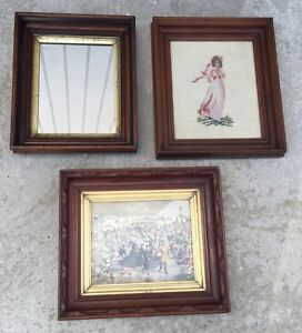 Antique Eastlake Ice Skating Shadowbox Frame Gilded Mirror Needlepoint Lot Of 3