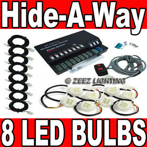 160w 8 Led Bulb Hide a way Emergency Hazard Warning Flash Strobe Light System 08