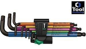 Wera Tools Germany Mixed Colour Hex Allen Key Set Extra Long 1 5mm 10mm Boxed