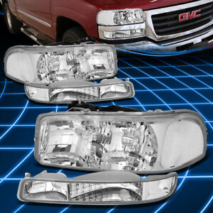 Chrome Housing Clear Headlight Bumper Corner Light For 99 06 Gmc Sierra Yukon